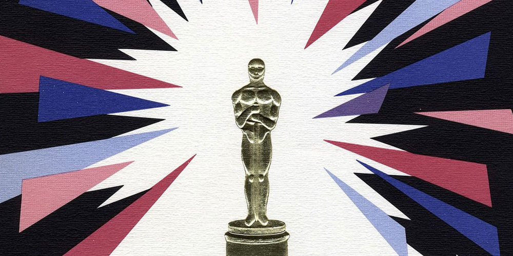 a picture of the academy award surrounded by an abstract design
