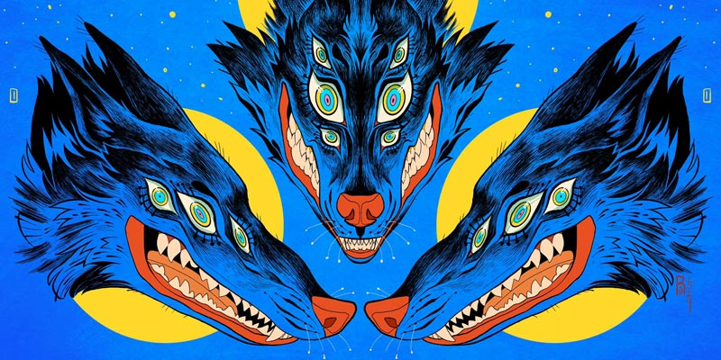 3 psychedelic looking wolves