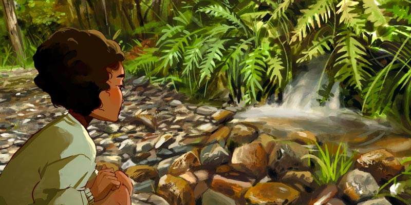 black woman looking at a peaceful stream