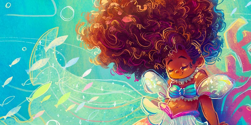 young mermaid with big beautiful hair