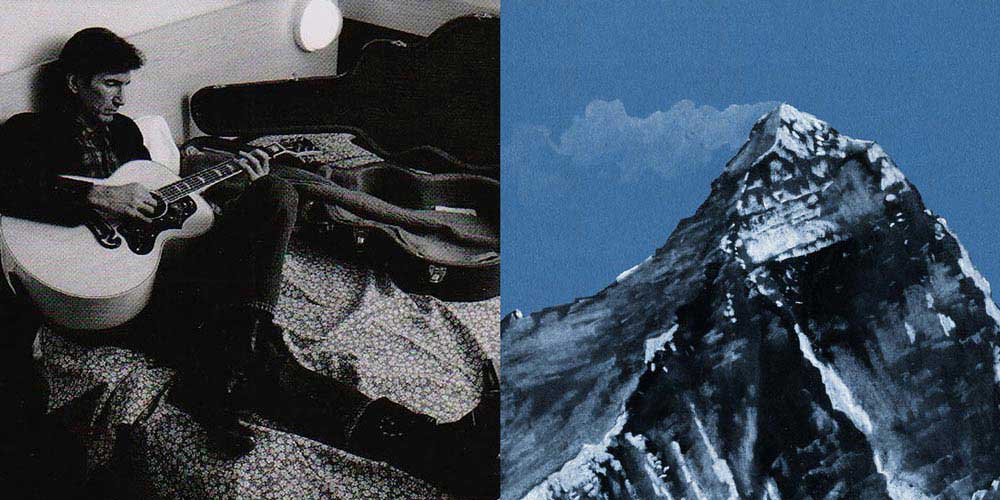 a picture of townes van zandt playing a gutair next to a picture of mount everest