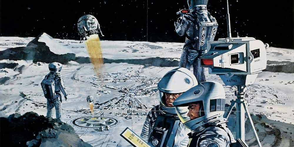 futuristic illustration of astronauts exploring the moon